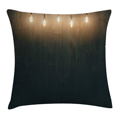 Nisdsgd Throw Pillow Cases Decorative Soft Square, Wooden Dark Interior Room with Classical Edison Innovation,Throw Pillow Cover Cushion Case for Sofa 12x12 Inch