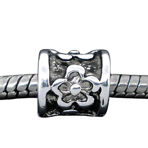 20pc Antique Silver Flower Carved Pattern Spacer Beads