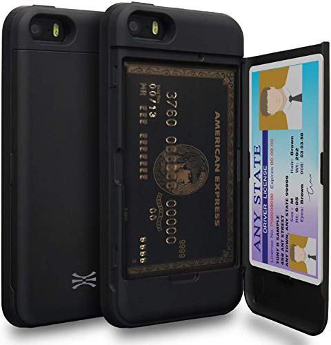 TORU CX PRO Compatible with iPhone 5/iPhone 5S/iPhone SE 2016 Wallet Case - Protective Dual Layer with Hidden Card Holder, ID Slot Hard Cover & Mirror - Matte Black