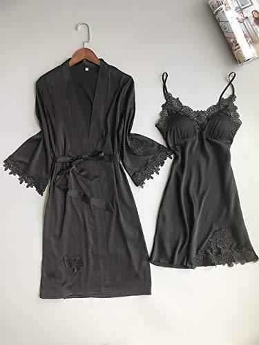 XFLOWR dames-slaappak, satijn, pyjama van zijde, huisgoed, kant, badjas, borstkussen, slaapvlounge, rood-zwart, 2 stuks, M badjas en rok zwart