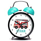 GIRLSIGHT3 Blue Alarm Clock, Cute Cute Red Fire Truck for Boys, Name Loud Alarm Clock Twin Bell Alarm Clocks with Nightlight