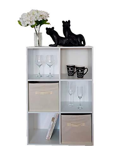 DKB360 Librero 6 compartimentos color blanco, fabricado con MDF