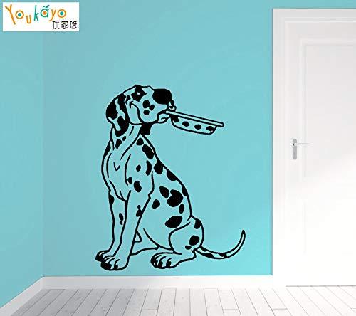sxh28185171 Etiqueta de la Pared Cocina dálmata Cachorro Mascota Perro tazón Vinilo etiqueta44 x 55 cm