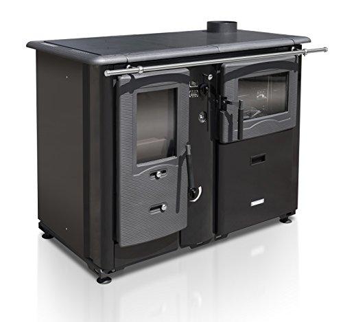 XXL-Wasserführender Küchenofen TEMY PLUS P 20, schwarz - dauerbrandfähig mit Sommer-/Winterfunktion - 20kW