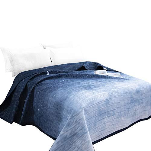 Qucover Tagesdecke Blau 140x200cm für Einzelbett Gesteppte Decke aus Mikrofaser Bettüberwurf Sofaüberwurf Romantischer Stil Sternenhimmel