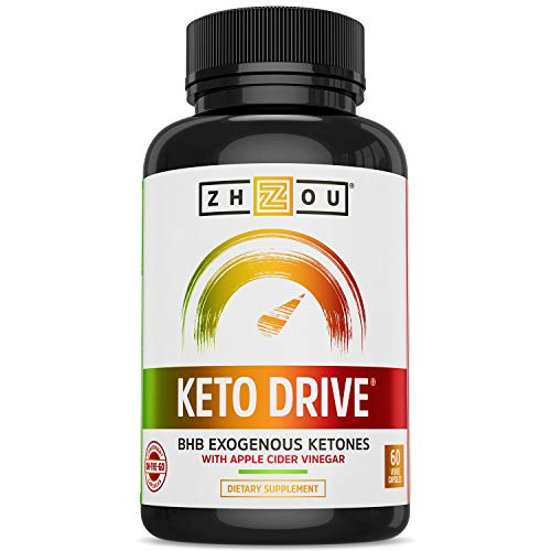 Zhou Keto Drive Capsules | Ketosis Supplement with BHB Exogenous Ketones | 30 Servings, 60 Caps