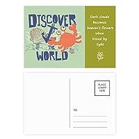 世界のカニの海洋生物を発見 詩のポストカードセットサンクスカード郵送側20個