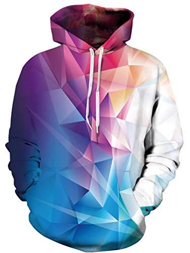 uideazone Männer Cool Diamant Hoodie Mehrfarbig Sweatshirts Lose Pullover Hoody Hooded Fein,S-M,Geometrisch 4