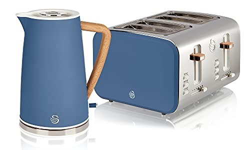 Swan Nordic Blue Kitchen Set with 1.7 Litre Kettle and 4 Slice Toaster, Wood Effect and Soft Tough Matte Finish, Stainless Steel, STP2091BLUN