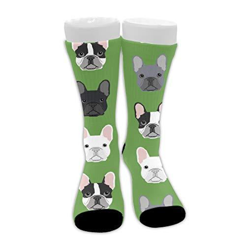 Casual Cushion Crew Socks for Boys Girls, Green Frenchie Dog Athletic Socks Moisture Wicking Compression Socks for Gym, Winter Warm Socks Slipper Socks