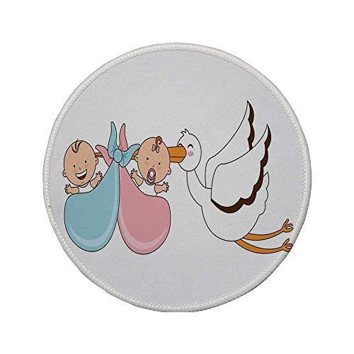Rutschfreies Gummi-rundes Mauspad, Gender Reveal, Babys mit Storch Mythische Glückwünsche Spielzimmer Babyparty Kinderthema, Mehrfarbig, 7.9
