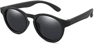ZDW - ZDW Los hijos de las gafas de sol de moda ronda de Niños y Niñas de silicona polarizó los vidrios de los niños de la calle Gafas de tiro,06Black-Gris