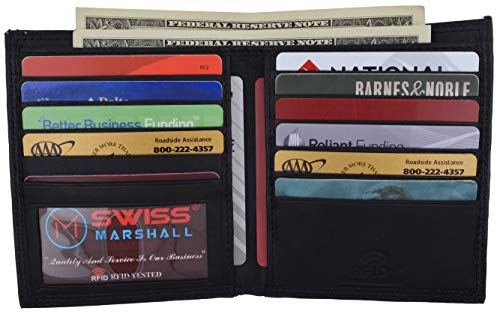 Swiss Marshall RFID Blocking Men's Slim Bifold Hipster Credit Card Premium Lambskin Leather European Wallet (Black)