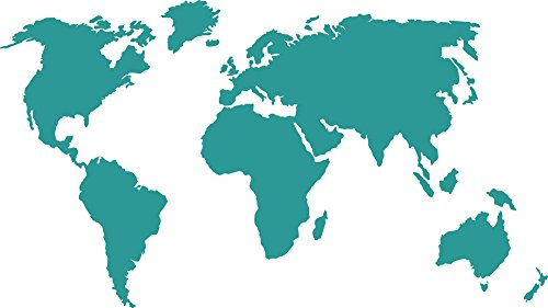 GRAZDesign Wandaufkleber Weltkarte - Büro Einrichten mit Wandtattoo Kontinent - Wandfolie Welt - Wanddeko Globus / 102x57cm / 054 türkis