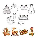 Peakpet 8 Stück Plätzchenausstecher 3D Weihnachten Ausstechformen Kinder DIY Keksausstecher