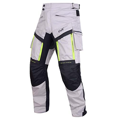 HWK Motorcycle Pants Cargo Pants Work Pants for Men Dirt Bike Adventure Dualsport Racing Riding Rain Waterproof Pant Hi-Vis 4-Season Armored All-Purpose (Waist34''-36'' Inseam30'') Silver