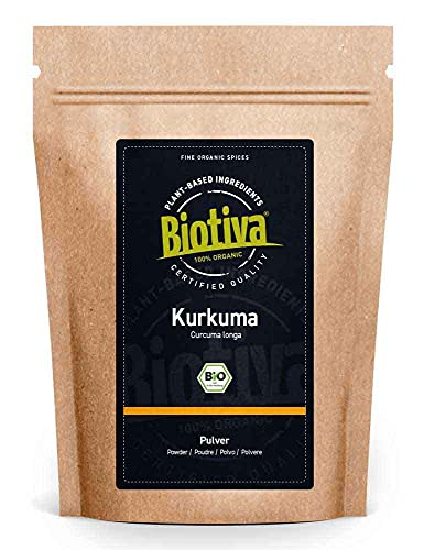 Biotiva Poudre de Curcuma bio 1000g - Racine de curcuma moulue de grande qualité - Superfood - Sachet refermable - Conditionné en Allemagne (DE-ÖKO-005)