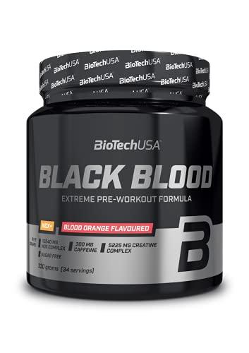 BioTechUSA Black Blood NOX+, Formula pre-allenamento con complesso estremo per la produzione di NOX, 150 mg di caffeina, potenziato con creatina, 330 g, Arancia rossa