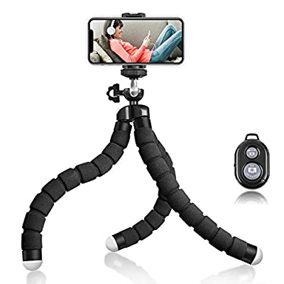 Phone Tripod, Portable and Flexible Tripod with Wireless Remote and Universal Clip, Compatible with iPhone/Android/Camera/GoPro, Flexible Tripod for Selfie/Travel/Video Recording by Moons