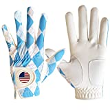FINGER TEN Golf Gloves Blue Plaid Men Left Hand Right with Ball Marker Pack, Mens Leather Golf Glove All Weather Grip, Fit Size Small Medium ML Large XL (Blue Plaid, Medium(Worn On Left Hand))