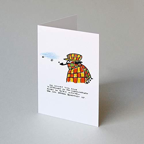 10 Weihnachtskarten für Juristen: Mr. Holmes noch ganz im Gedanken an den merkwürdigen alten Mann im roten Mantel, Klappkarte inkl. weißem Umschlag mit Seidenfutter, Zeichnung: Silke Voss