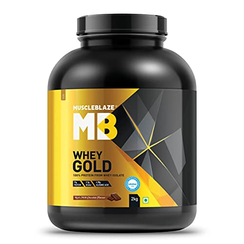MuscleBlaze Whey Gold, 100% Whey Protein Isolate, Labdoor USA Certified (Rich Milk Chocolate, 2 kg / 4.4 lb, 66 Servings)