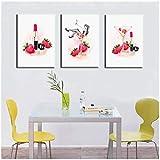 cuadros decoracion salon Pintura de lienzo de acuarela abstracta Lápiz labial de champán Combinación de niña de fresa Impreso digital Imagen de arte de pared Decoración para el hogar 19.7x27.6in (50x