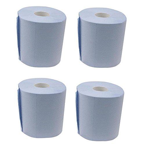 4 Rollen Putztücher Blau 2-lagig 450 Blatt mit zentraller Entnahme