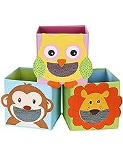 SONGMICS Juego de 3 Cajas de Almacenamiento, Cajas de Juguetes, Cubos Plegables,para Salón, Habitación Infantil, 27 x 27 x 27 cm, Colorido RFB01KU