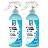 NutriGlow Advanced Organics Combo of 2 70%(v/v) Alcohol Based Hand Sanitizer Liquid hand rub for Disinfectant Hand/Gentle Spray/Deep Cleanse 500ml Each