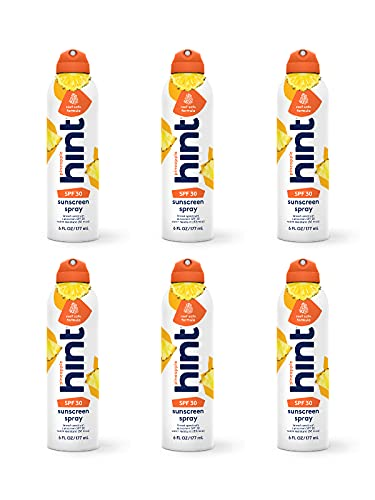 Hint Sunscreen SPF 30 Oxybenzone/Paraben Free, Pineapple, 6 Count