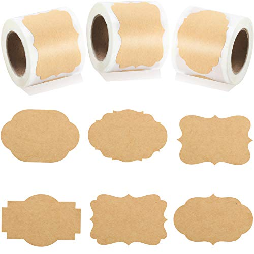 2 x 3 Kraft Sticker Paper Label Fall Brown Kraft Sticker Label Name Tags Autumn Adhesive Sticker Kraft Label for Office Classification Jar Candle Glass Bottle Christmas Sticker Tag (300 Pieces)