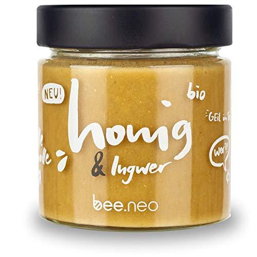 bee.neo bio Honig & Ingwer 230g [100% natürliche Bio-Zutaten, süß und scharf vereint, mehr als Aufstrich, perfekt für Tee, asiatische Gerichte, Cocktails]