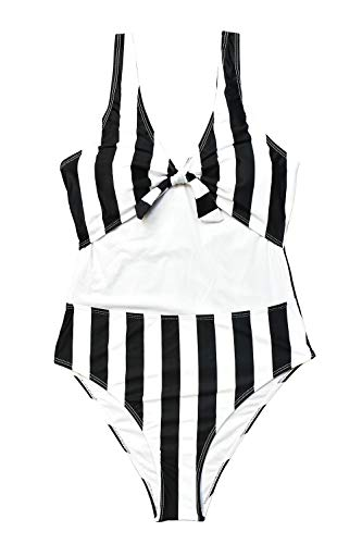 VECENEY Women Tie Knot Black Strip One Piece High Waisted Beach Bathing Suit,XXL