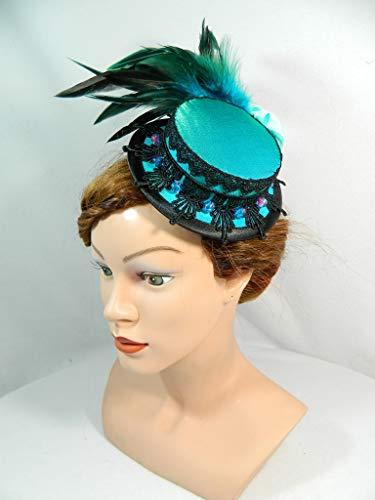 Mini Sommerhut Türkis Pfau Kostuem Cocktailhut Haarschmuck Burlesque Victorian Headpiece