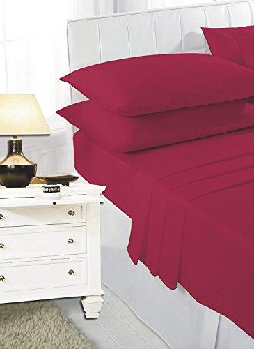 mFabrics - Juego de sábanas de algodón de cuidado fácil, incluye sábana bajera, sábana encimera, fundas de almohada, en tamaños individual, doble, «king» y «superking», algodón mixto, Rojo, suelto