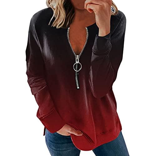 Kookmean Camisa de manga larga para mujeres, mujeres sexy con cremallera hasta cuello en V Tie Dye sudaderas casuales sólido jersey otoño tops camisas, rosso, 3XL