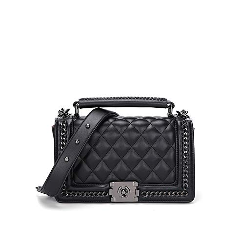 Women black classic square messenger bag fashion shoulder bag ladies package chain bag (black)
