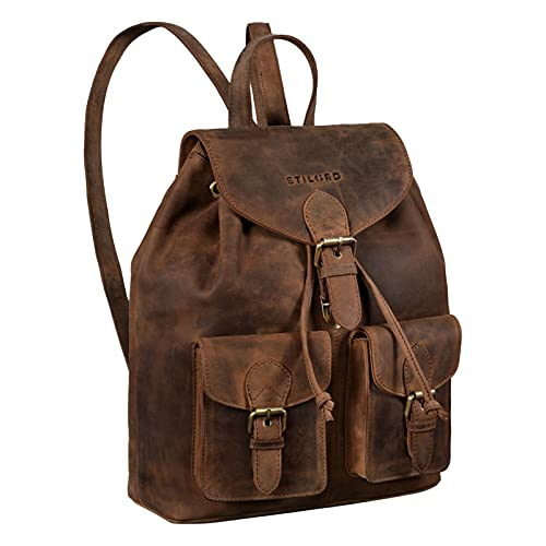 STILORD \'Ezra\' Tagesrucksack Leder Daypack Groß Vintage Backpack ideal als Laptoprucksack Schulrucksack DIN A4 Reiserucksack Echtes Leder, Farbe:mittel - braun