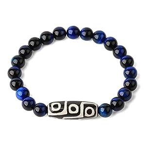 CHEMOXING Naturstein elastische Strang Armbänder Lava Quarz tibetische Perle Achate Dzi Armband für Frauen Männer Schmuck