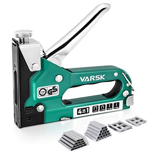 VARSK Staple Gun, Heavy Duty Staple Gun 4 in 1 Manual Nail Gun with 4000 Staples, Staple Gun Kit for Wood, Upholstery, DIY Repair, Fixing Material, Decoration, Carpentry, Furniture, VAR-810