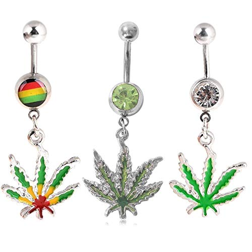 Shuning 3PC Maple Leaf Belly Navel Ring Weed Button Body Piercing Jewelry Bar