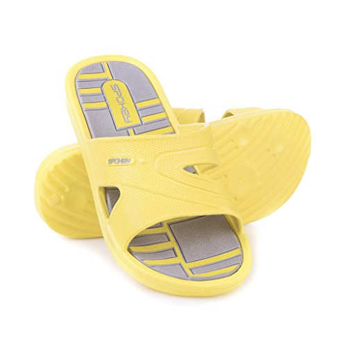 Spokey Damen-Badeschuhe Intro gelb-grau