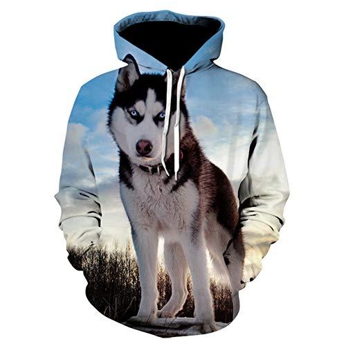 ZHNELYJ Herren Hoodie, Husky 3D Digital Print Hoodie Tiermuster Herbst Winter Pullover Sweater S-5XL,Hoodie1,5XL