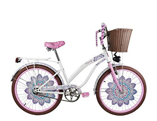 """Bicicleta Urbana para Niñas Modelo """"Mandala"""" con Canastilla Frontal y Portabultos, Rodada 24 1 Velocidad…"""