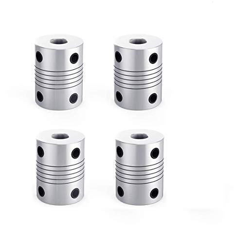 OZUAR 4 Pezzi Giunti Flessibili in Alluminio 5mm a 8mm NEMA 17 Albero Accoppiatore per Stampanti 3D RepRap o Macchina CNC