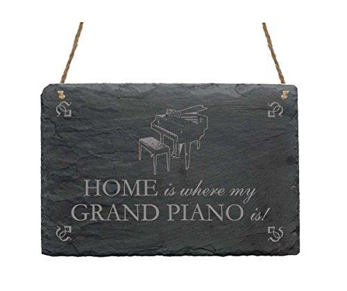 Schiefertafel « HOME IS WHERE MY GRAND PIANO IS » Schild mit Motiv Flügel - Größe ca. 22 x 16 cm - Dekoschild Dekoration Geschenk - Musik Pianist Klavier