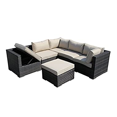 SMU Wicker Rattan Lounge Chair Rattan Sectional Sofa Set
