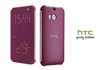 HTC Hi-Tech Dot View Interactive Flip Cover Case One M8 Smart Flip Folio Cover - Purple