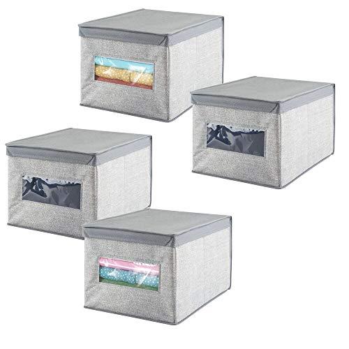 mDesign Juego de 4 cajas de almacenamiento apilables con ventana para el armario y el dormitorio – Cajas organizadoras grandes con tapa de fibra sintética – Organizadores de ropa – gris
